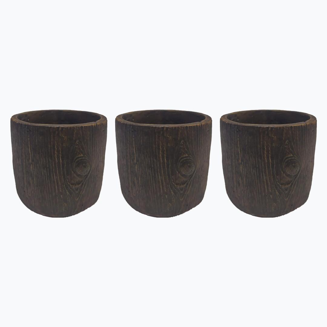 Kit 3p Vaso decorativo tronco de arvore