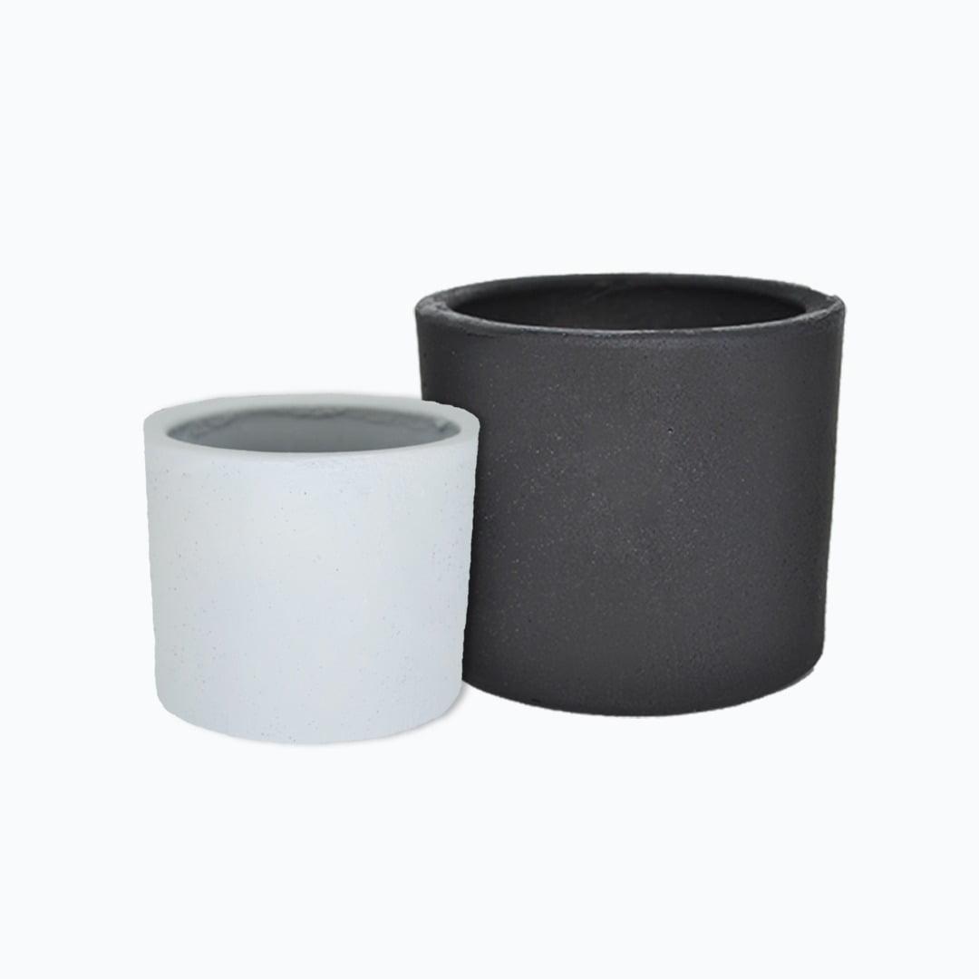Kit 2un vasos cachepot em cimento branco e preto de concreto