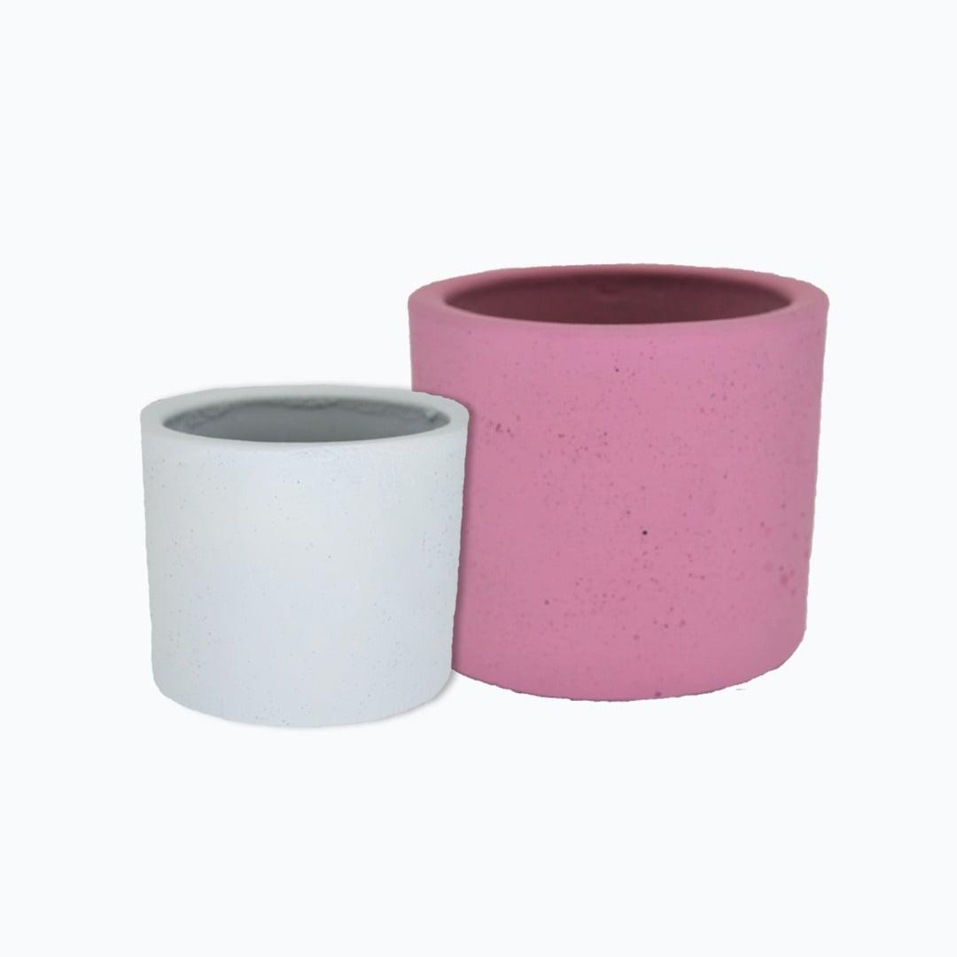 Kit 2un vasos cachepot em cimento branco e rosa primavera de concreto
