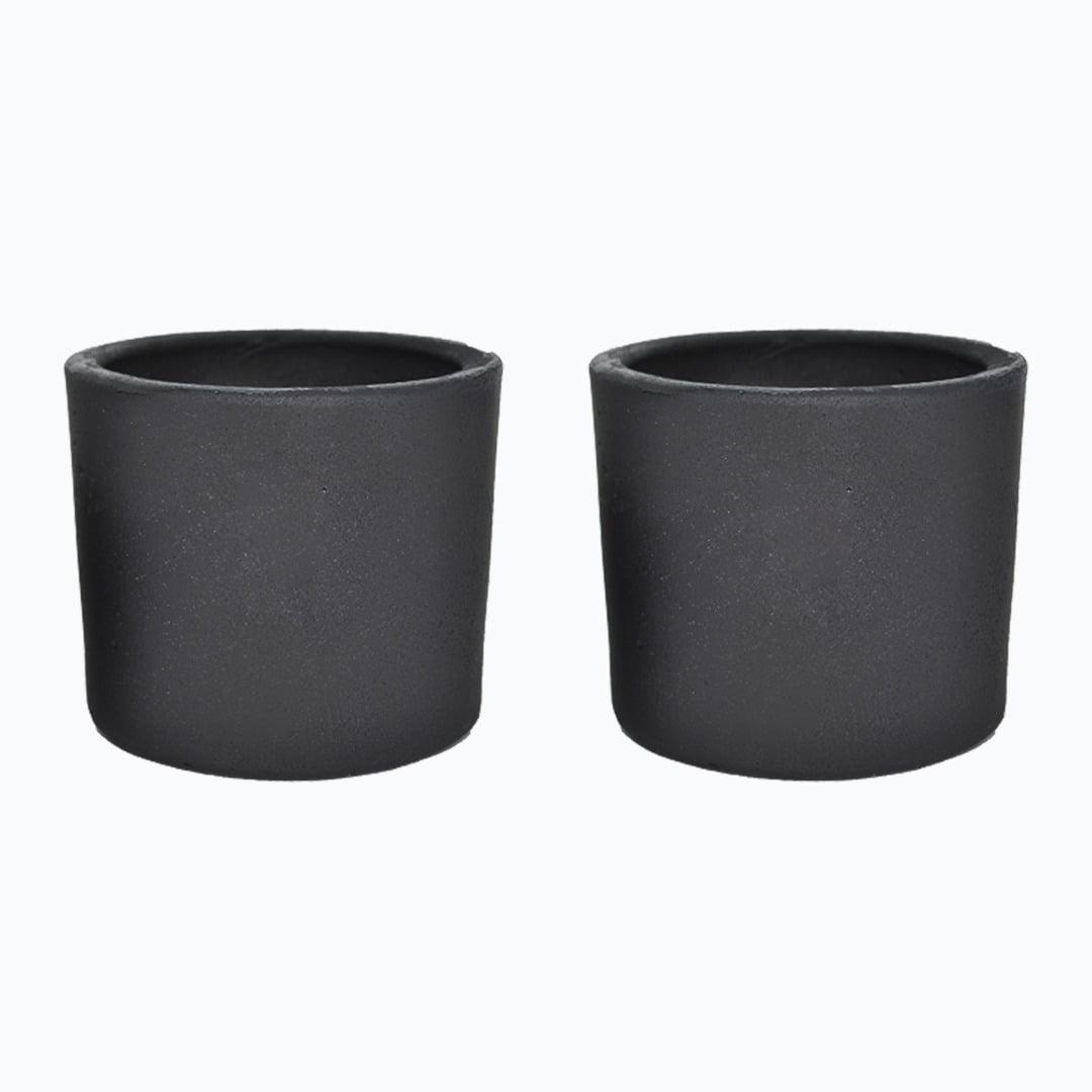 Kit 2un vasos cachepot em cimento cor preto de concreto