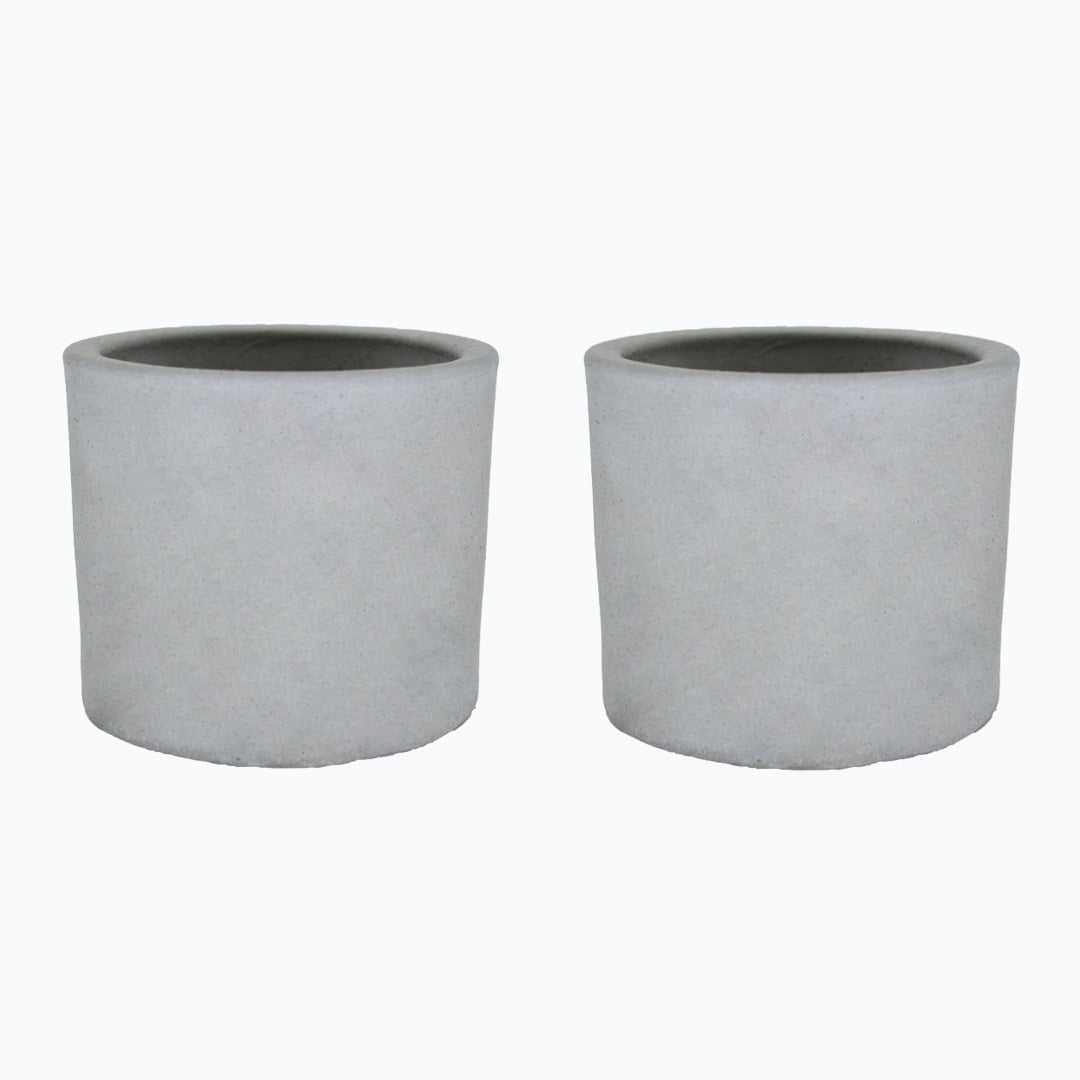 Kit 2un vasos cachepot em cimento cru decorativo de concreto