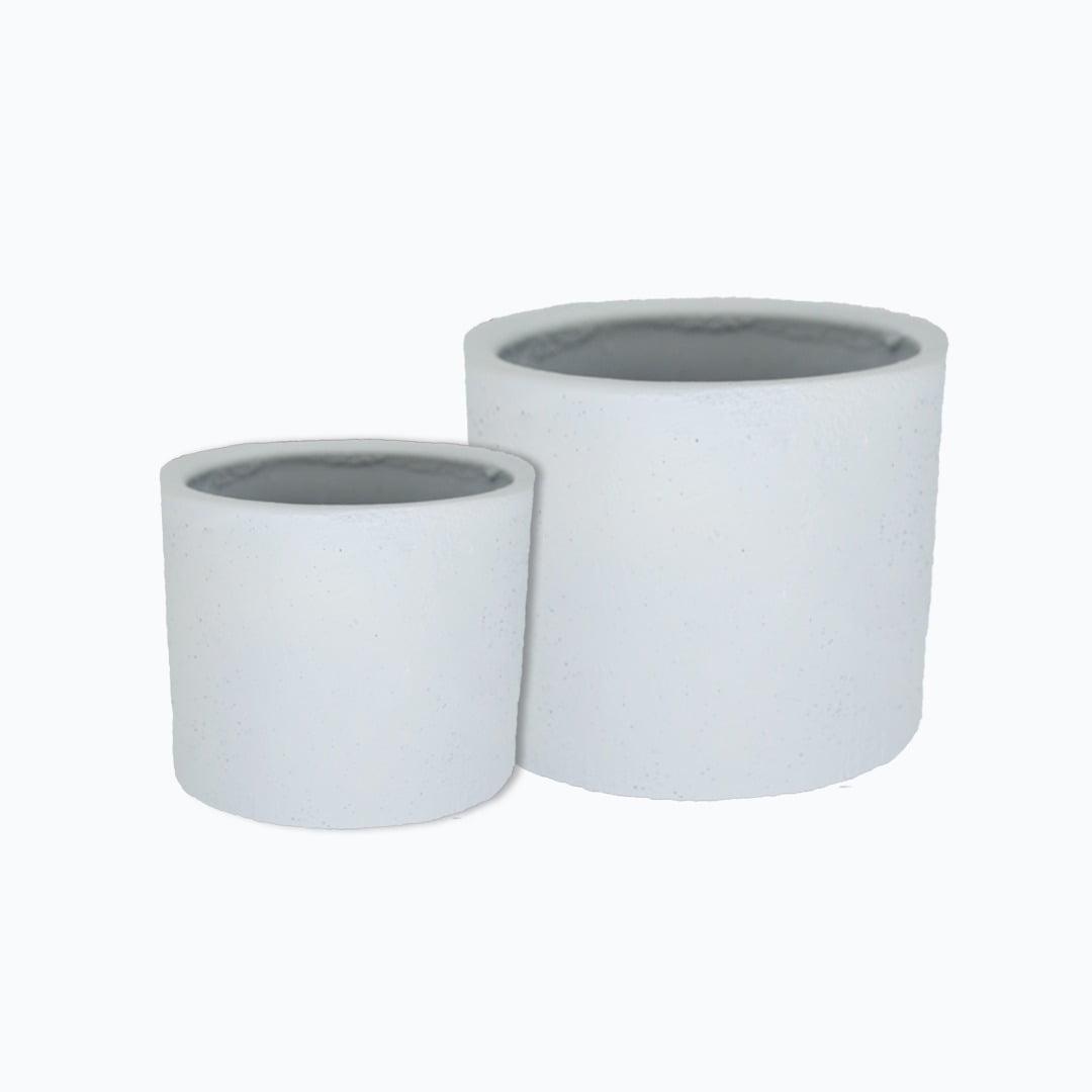 Kit 2un vasos cachepot tamanhos diferentes em cimento branco de concreto