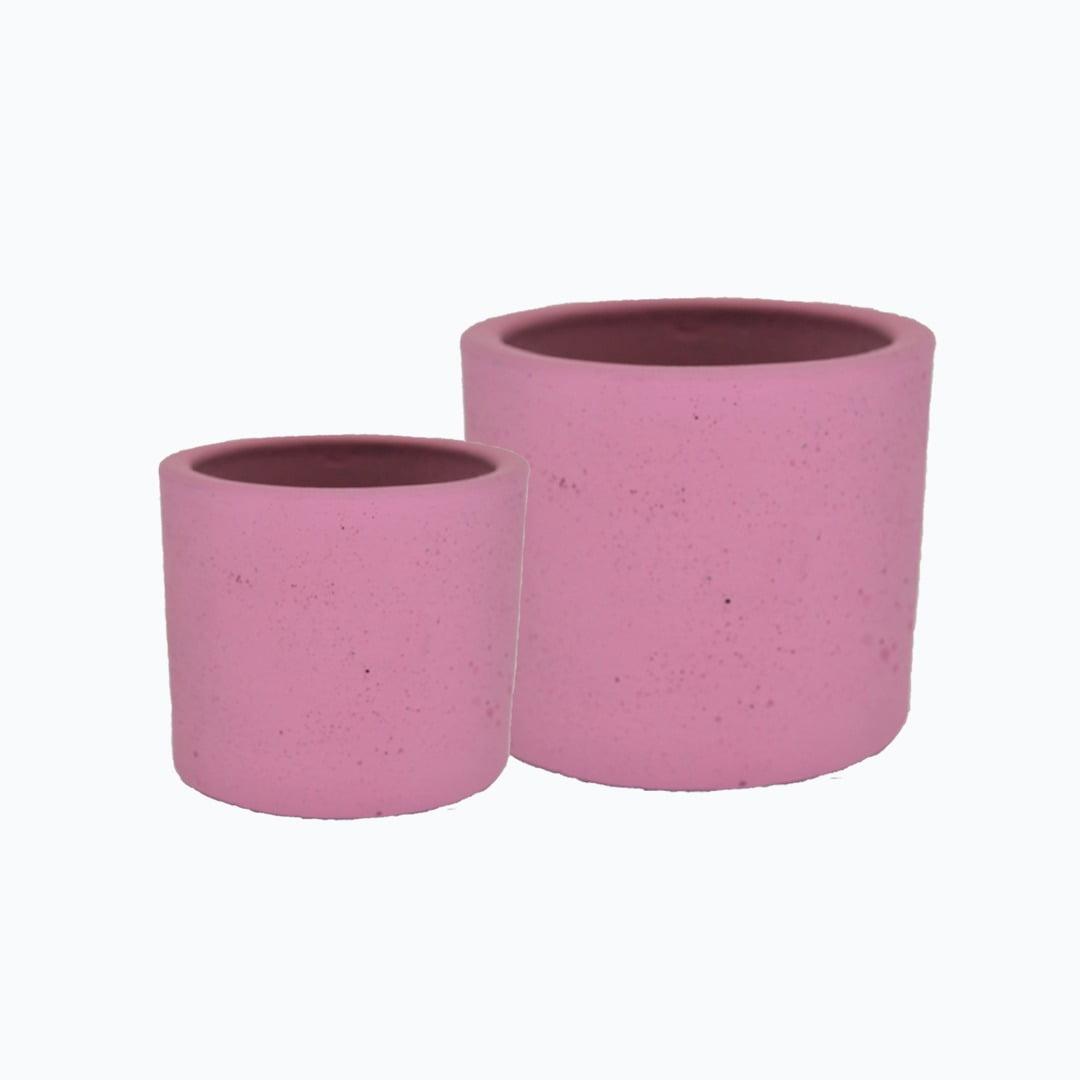 Kit 2un vasos cachepot tamanhos diferentes em cimento rosa primavera de concreto