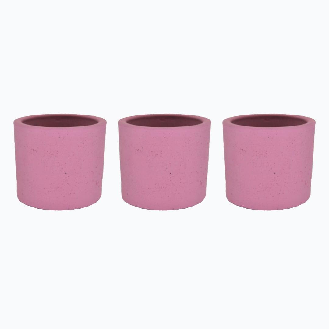 Kit 3un vasos cachepot em cimento rosa primavera de concreto