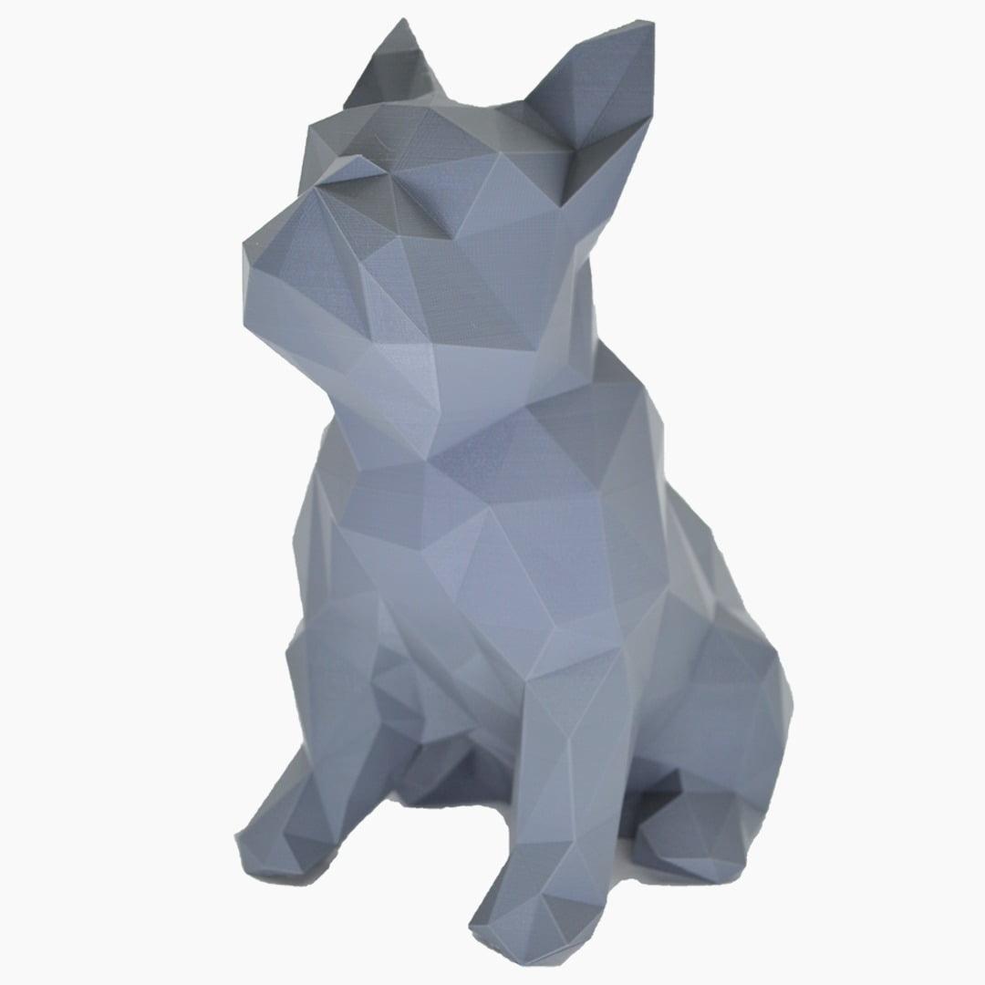 Bulldog animal geométrico escultura 3d cão cinza