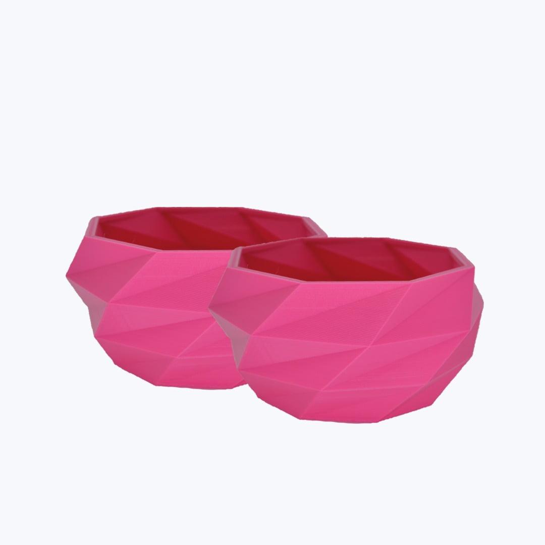 KIT 2 VASOS GEOMETRICOS BAIXO 3D ROSA