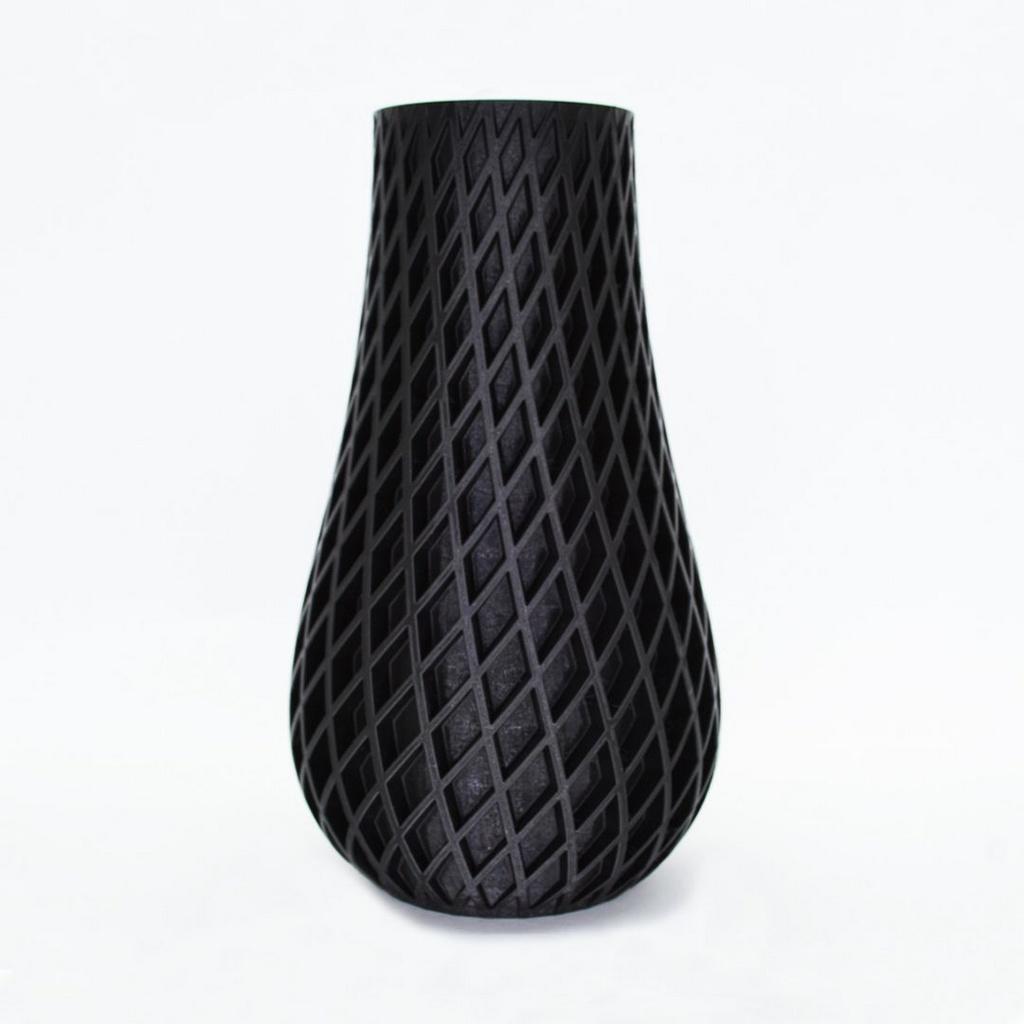 Vaso duplo espiral 3d porta objetos preto