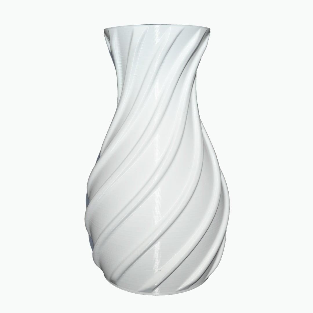 Vaso decorativo espiral 3d porta objetos branco