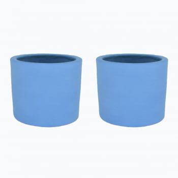 Kit 2un vasos cachepot em cimento azul inverno de concreto