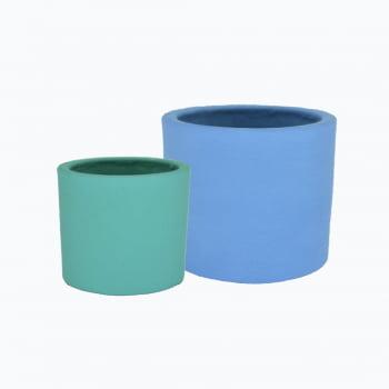 Kit 2un vasos cachepot em cimento verde turquesa e azul inverno de concreto