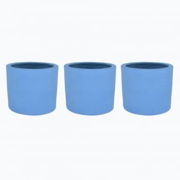 Kit 3un vasos cachepot em cimento azul inverno de concreto