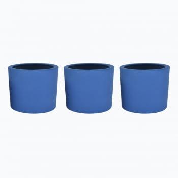 Kit 3un vasos cachepot em cimento azul petroleo de concreto