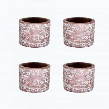Kit 4 vasos de cimento étnico ouro rose detalhes em branco