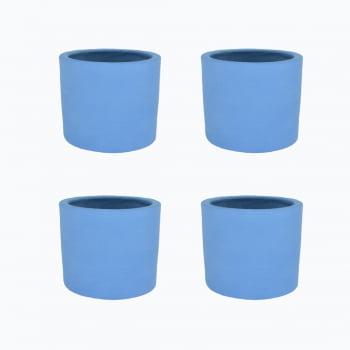 Kit 4un vasos cachepot em cimento cor azul inverno de concreto