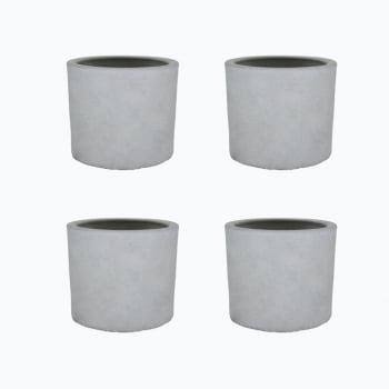 Kit 4un vasos cachepot em cimento cru decorativo de concreto