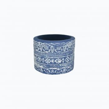 Vaso de cimento étnico azul petroleo detalhes em branco