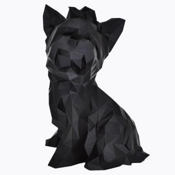 Yorkshire animal geométrico escultura 3d cão preto